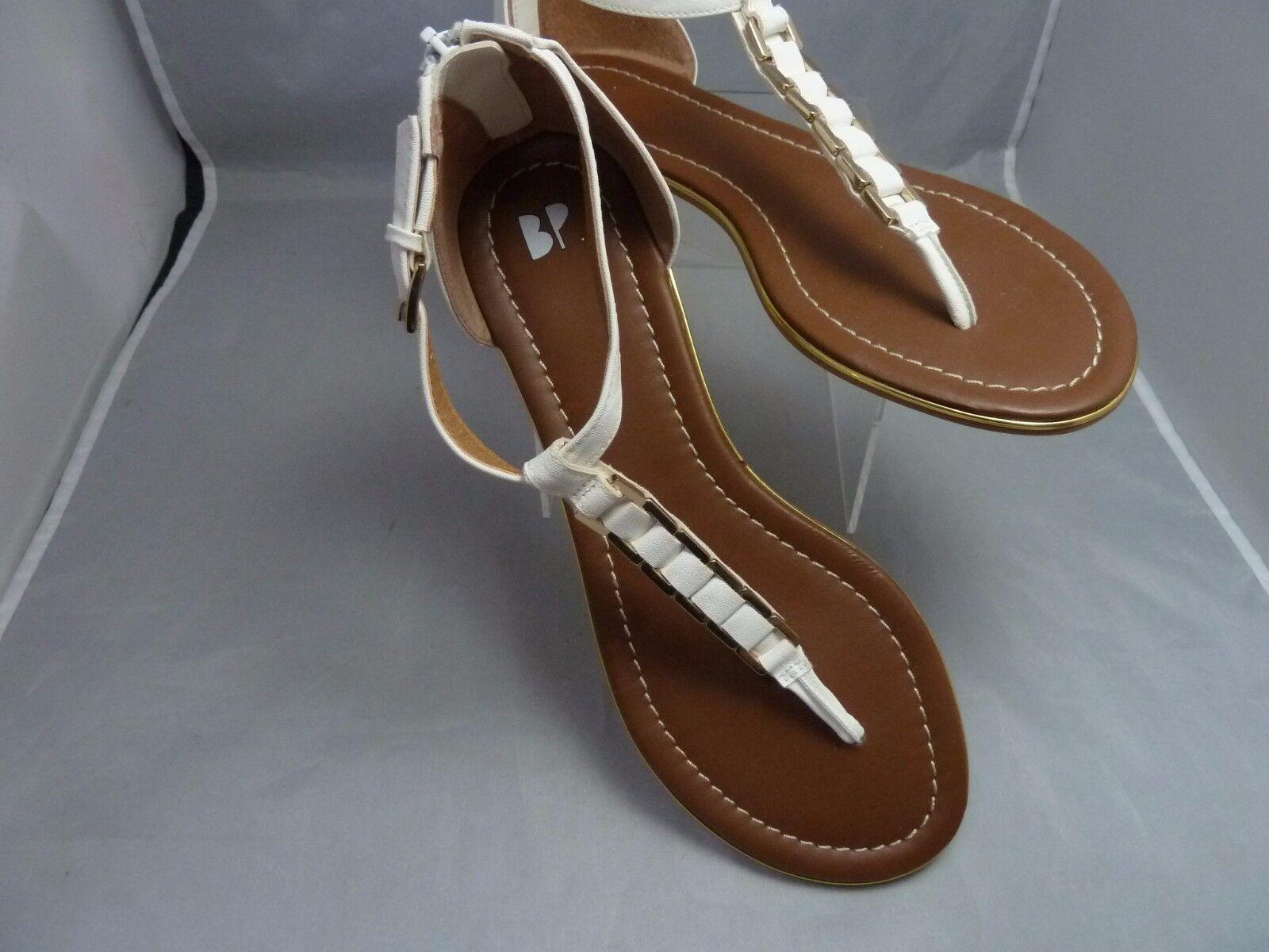 BP Nordstrom Women's - sz 8 - /   Leather  Sandals  / brass buckle  zipper back wht 247909