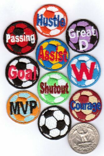 Soccer Ball Iron On Patches Variety Selection 10-pack 1.0-inch diameter