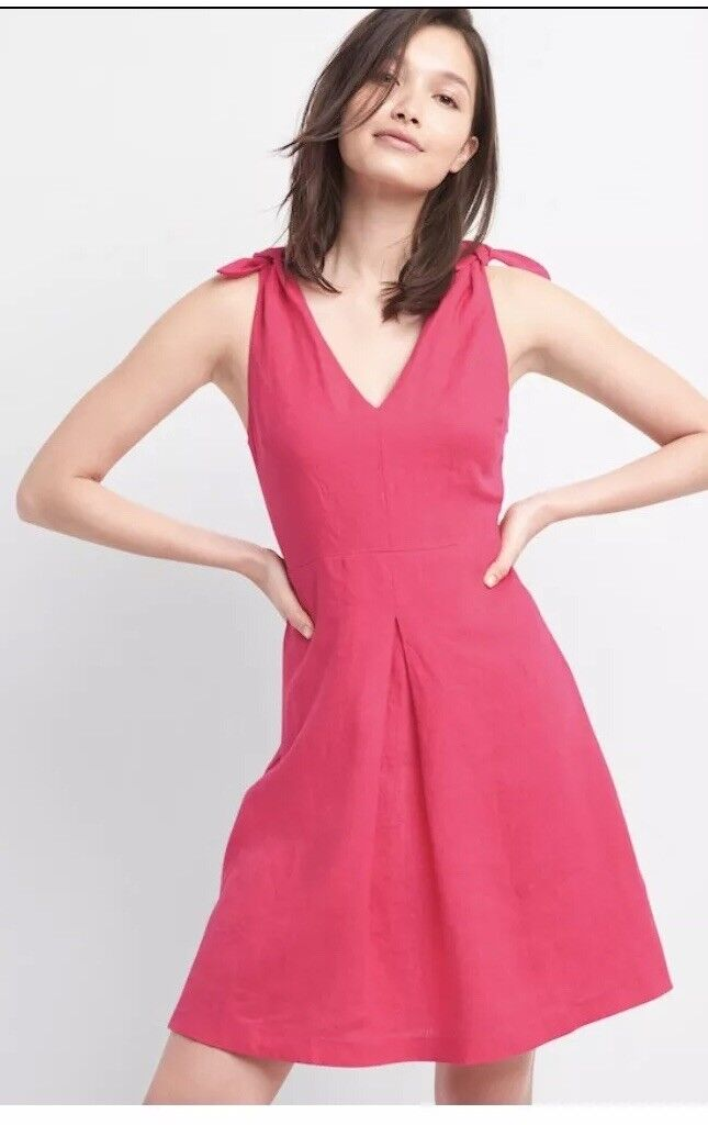 Gap Women's 100% Linen Fuchsia Tie Shoulder Dress Size 4-New With Tag