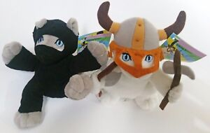 KITTEN-BUNDLE-A-Ninja-Kitten-and-a-Viking-Kitten-plushie-soft-toy-together
