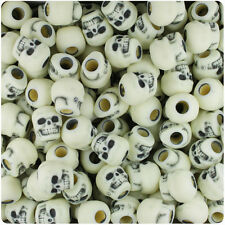 150 Ivory Antique 11mm Halloween Skull Pony Beads Made in the USA