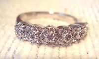 Diamonique 1/2cttw Cluster Band Ring, Sterling Size 8 Qvc