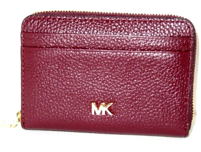 4c4d43126a76 Michael Kors Money Pieces Card Case Oxbood Leather Zip Around Wallet NWT $78