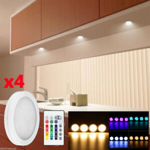 4pcs rgb color changing led under cabinet light counter closet puck image is loading 4pcs rgb color changing led under cabinet light mozeypictures Images