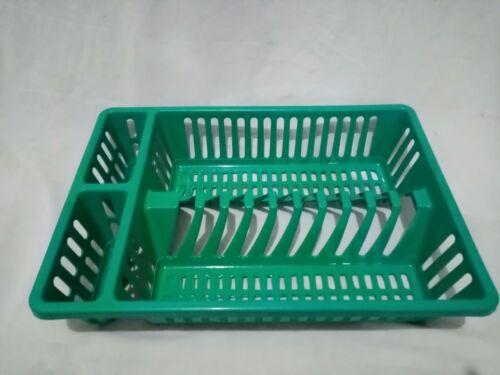 Green Dish Drainer Rack Tray Utensil Cutlery Sink Kitchen Plate Holder Plastic