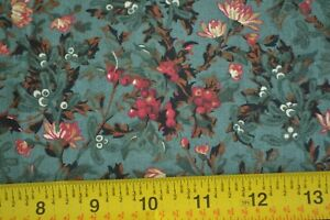 By-1-2-Yd-Cream-Brown-Red-on-Teal-Quilting-Thimbleberries-Holly-Hill-N902