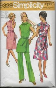 VTG-70-039-s-Simplicity-Sewing-Pattern-9329-Misses-039-DRESS-or-TUNIC-amp-PANTS-sz-12-1-2