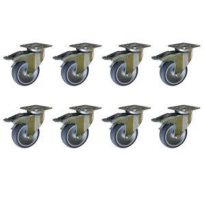 8 Stück 75 mm Apparaterollen Möbelrollen Lenkrollen Transportrollen TPE Gummi A1