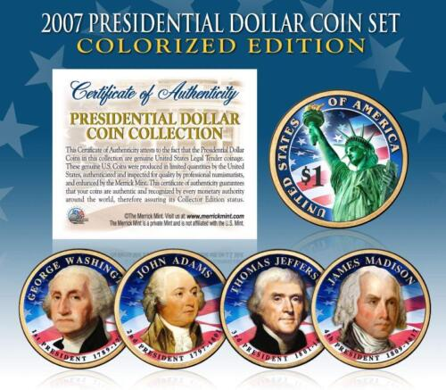 2007 U.S MINT COLORIZED PRESIDENTIAL $1 DOLLAR COINS COMPLETE SET OF 4 *