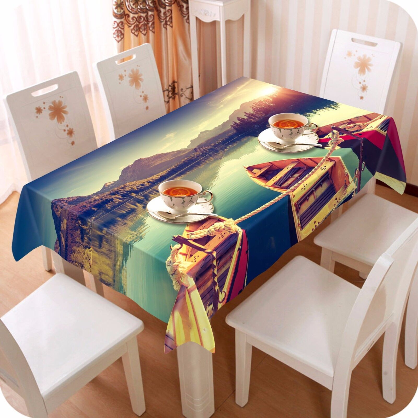 3D Ferry Lake Nappe Table Cover Cloth fête d'anniversaire AJ papier peint Royaume-Uni Citron