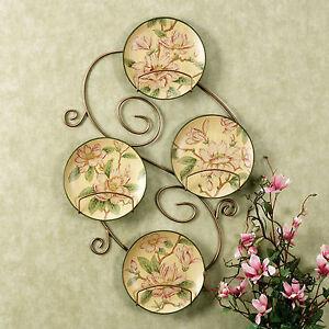 Decorative plates floral magnolias wall home decor set4 rack not incl ebay - Decor wall plates ...