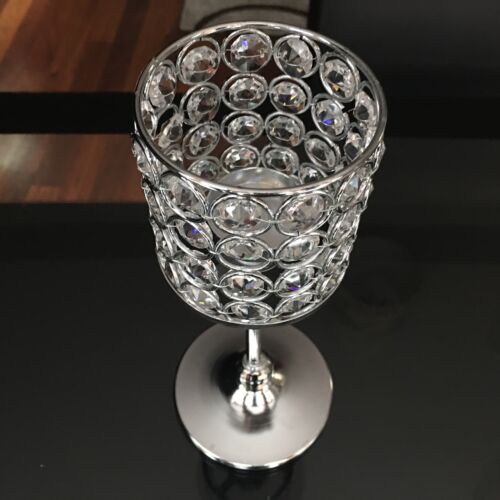 SILVER CRYSTAL JEWEL WEDDING CANDLE STICKS TEALIGHT HOLDER FOOTED STAND GOLD