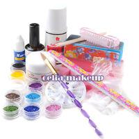 Clear Acrylic Powder Liquid Nail Art Glitter UV Gel Base Primer Tips Tool Kit