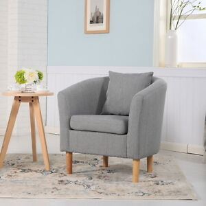 DELUXE FABRIC TUB CHAIR ARMCHAIR DINING LIVING ROOM OFFICE ...