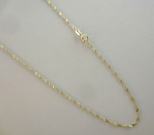 Real 14k Gold Singapore Chain 16 18 20 22 24 Inch 1mm Solid Yellow Gold Necklace Ebay