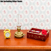 1:12 Dollhouse Clear Glass Hurricane Lamp Golden Table Lighting Miniature Decor