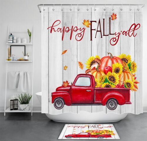 Happy Fall Pumpkins Red Truck Wood Plank Waterproof Fabric Shower Curtain Set