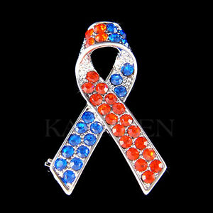 Details About Con Heart Defect Chd Awareness Ribbon Made With Swarovski Crystal Brooch