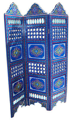 Wood Room Divider Screen Partition Moroccan Separation Panels Handmade X-LG Blue