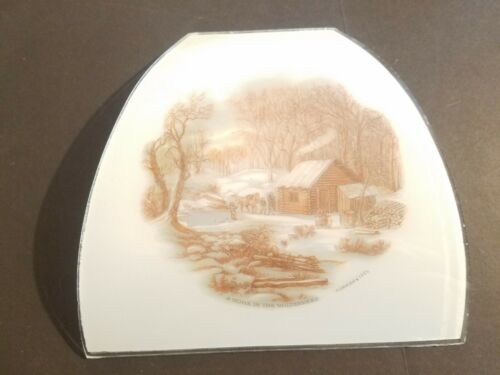 Currier And Ives A HOME IN THE WILDERNESS Frosted Glass Panel From Canopy Light