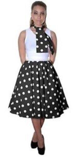 50/'s Style Ladies Women Polka Dot RockNRoll Poodle Skirt/&Scarf Set