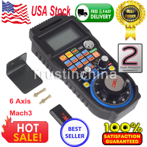 Wireless 6 Axis Mach3 MPG Pendant Handwheel Controller for CNC Machine Lathe US 877791787164