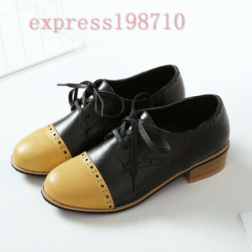 New Womens Flats Classic Wing Tip Brogues Lace Up Pumps Shoes Low Heel Oxfords