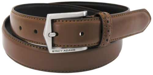 Men/'s Stacy Adams Dress Belt 087 Cognac Pinseal Leather Sizes 32-54 Waist