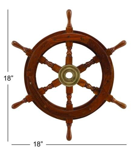 """Wooden Ship Wheel 18/""""inch Collectible Maritime Nautical Boat Steering Wall Decor"""