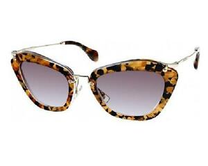 12e95583bd5f New Authentic Miu Miu Cat-Eye Sunglasses SMU 10N DHF-0A7 Havana Gold ...
