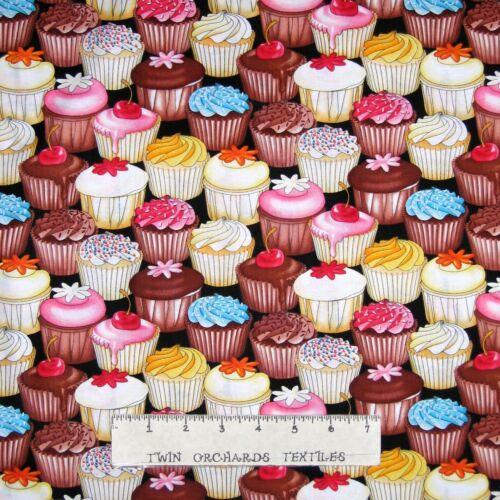Food Fabric Timeless Treasures YARD Dessert Cupcake Packed Black