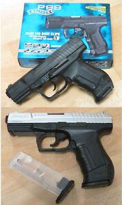 Details zu Walther Umarex Airsoft Softair Pistole P99 0,5 Joule  schwarz/silber oder schwarz