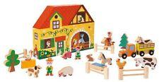 Janod Juratoys Wooden Farmhouse Farm Animals Story Box Preschool Kids Play Set