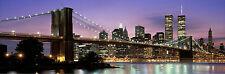 New York City Manhattan World Trade Center Night Poster Print 62X21 (157.5X53cm)