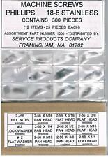 STAINLESS PHILLIPS HEAD 2-56 SCREWS + NUTS + WASHERS  ASSORTMENT 300 PIECES