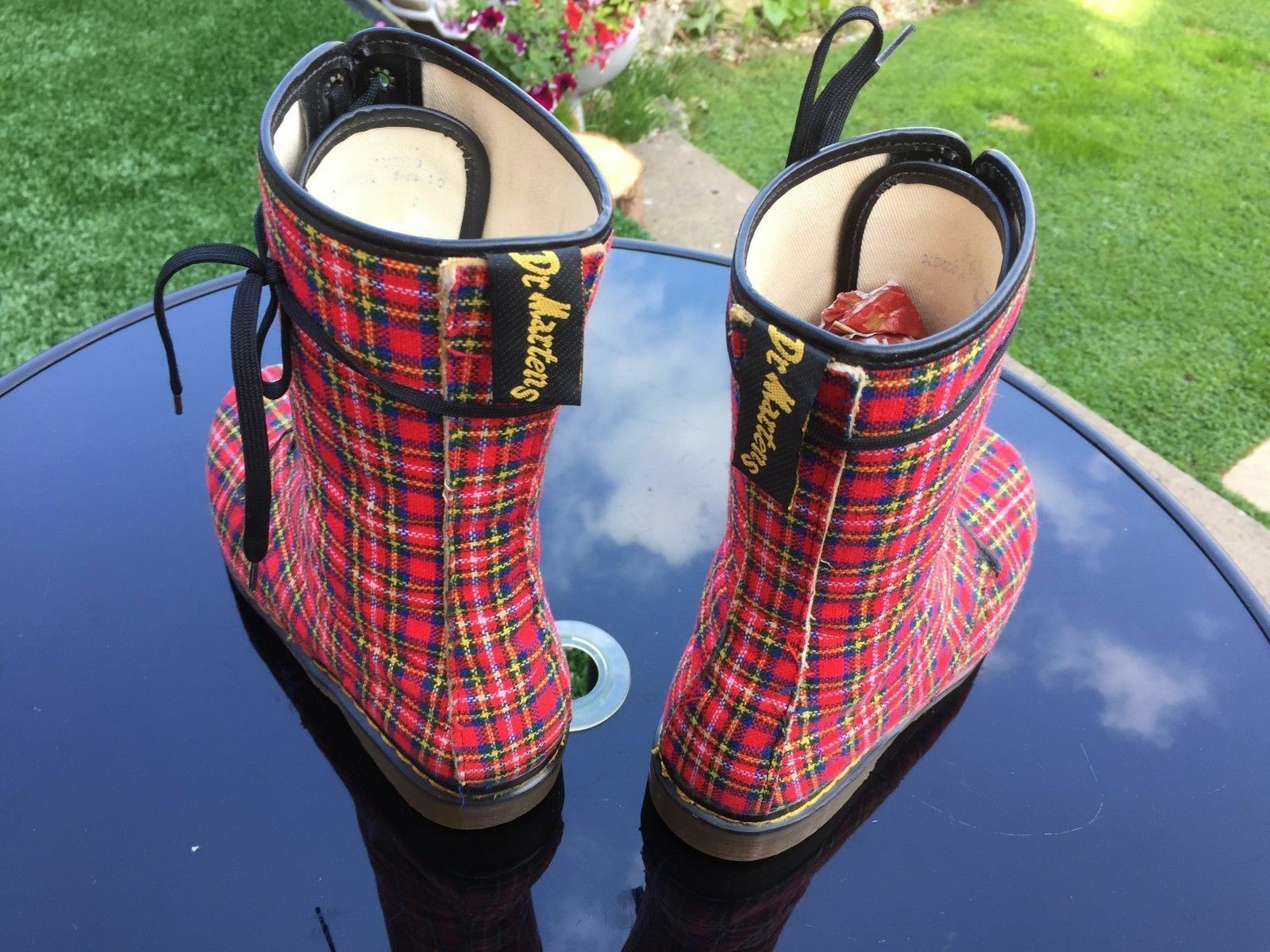 VINTAGE Dr Martens 1914 Stivali in Tessuto Tartan Rosso EU 45 Made in Stivali England e9ae12