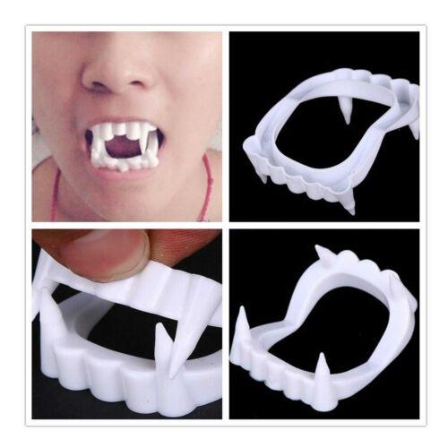6 Pk Halloween White Fangs Vampire Fake Teeth Party Costume Accessories