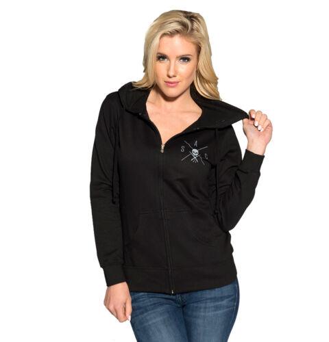 Sullen Angels Clothing Womens Loved Zip Day of the Dead Black Hoodie Sweatshirt