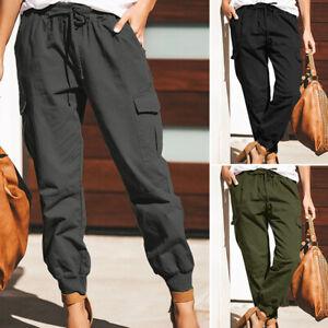 ZANZEA-Femme-Pantalon-Coton-Poches-Taille-elastique-Casuel-Bande-elastique-pLUS