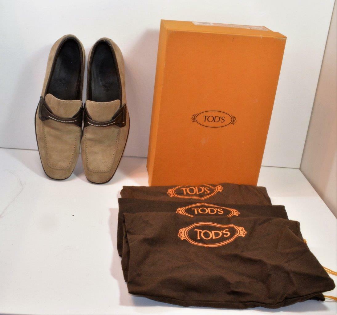 Auth Tod's Men's US8 EUR 41 Camel Suede leather loafers w scatola,dust borsas Sautope classeiche da uomo