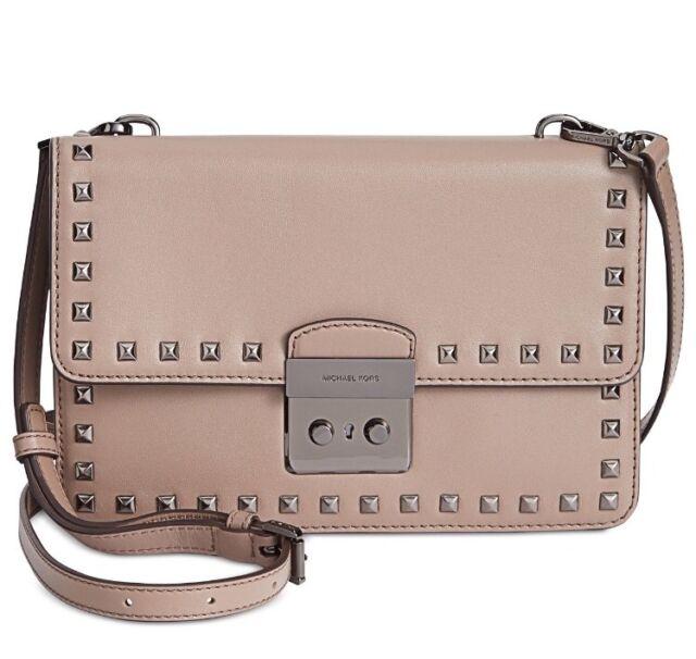 5b22268e4915 Michael Kors Dark Dune Leather Sloan Large Studded Gusset Crossbody Bag