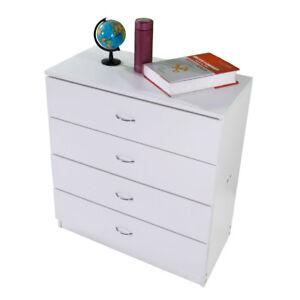 Home-Bedroom-4-Drawers-Night-Stand-Wooden-Storage-Organizer-Furniture-White