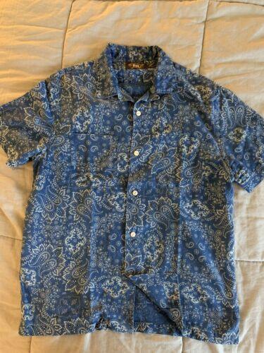 RRL Bandana Indigo Shirt Sz. M Medium Blue