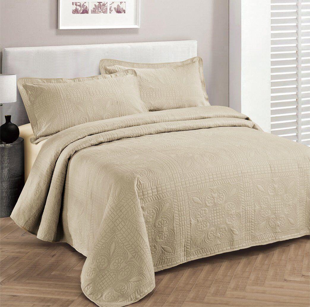 Fancy Linen OverGröße Luxury Embossed Bedspread Solid Beige All Größes New