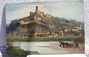 Josef KAMENITZKY STEINER 1910 - 81 Wien - Flusslandschaft Burg Trencin Slowakei
