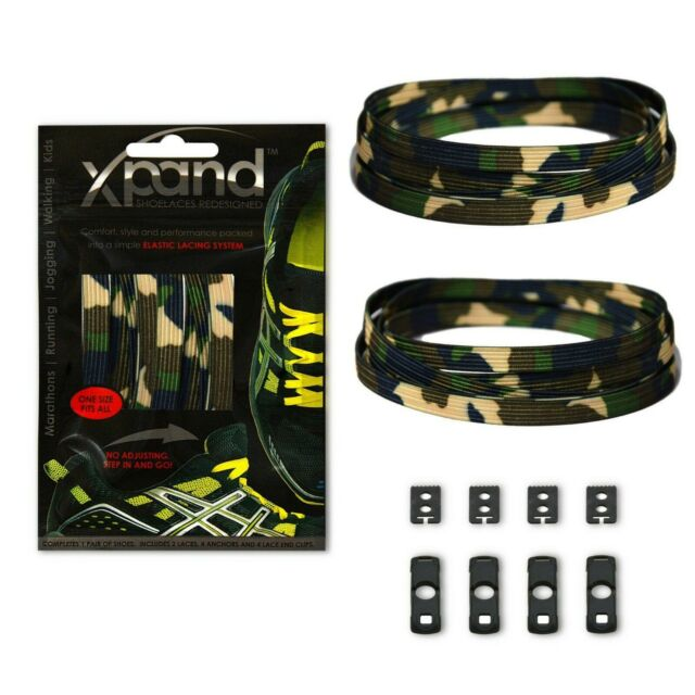 Xpand No Tie Elastic Shoe Laces - Green Camo