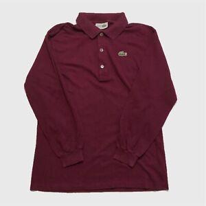 Womens-Lacoste-Long-Sleeve-Top-Large-Purple-Polo-Shirt