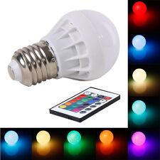 3W E27 AC 85-265V RGB LED Light Bulb Lamp Color Changing+IR Remote Control Sales