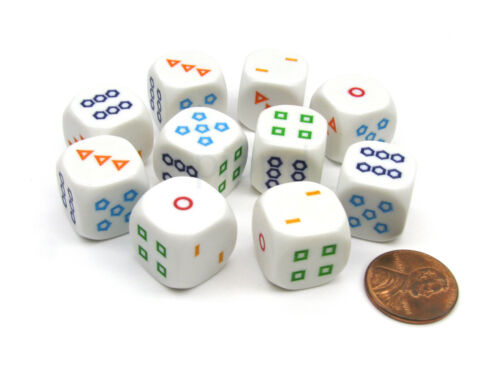 Pack of 10 16mm Educational Color Shapes 1-6 Dice White with Multicolor Shapes