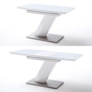 s ulentisch galina esstisch wei hochglanz lack glas synchronauszug 120 160 cm ebay. Black Bedroom Furniture Sets. Home Design Ideas